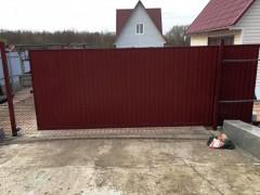 Откатные ворота 5*2м (рама 60*30, внутри 20*20) со встроенной калиткой